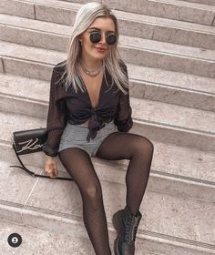 Pantyhose Outfits, Black Pantyhose, Nylons, Black Tights Outfit, Tights And Boots, Dr. Martens, Girl Outfits, Cute Outfits, Sexy Legs And Heels