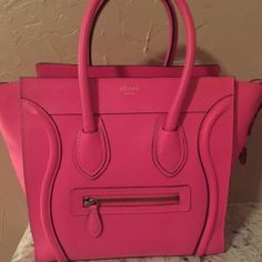 Authentic purse Date Code is S-LP-1121  RARE find in NEW condition!! I bought this Celine  Pink Micro and have kept it in its dust bag in my closet . I have only used it once. So it's time to find a new home!! The bag is flawless inside and out. It will come the original Celine dust bag.  Guaranteed Authentic. GOOGLE WALLET ONLY FOR Payment download the app in iTunes people who post rude comments will be blocked and reported Celine Bags Totes