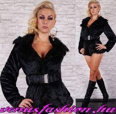 4cd5e09a9a Fekete szőrme kabát bunda övvel - Venus fashion női ruha webáruház , ruha  webshop, női ruha