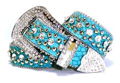 B B Cowgirl Western Sparkling Turquoise Rhinestone Embossed Leather Belt...holy crap, pretty color :)