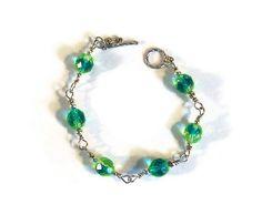 Wire Wrapped 'Vaseline' Bracelet by whatsingramasdrawers on Etsy, $12.00