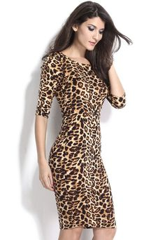 Simple, sexy and fashionable! Exquisite low v back and 3/4 sleeves midi dress, stylish wild leopard print throughout, exceptional stretch and comfy fit. Show off your feminine side and sexy figure in