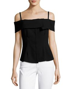 Bertson+Cold-Shoulder+Crepe+Top,+Black+by+Theory+at+Neiman+Marcus.