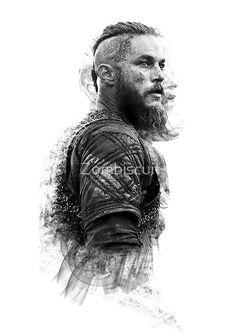 'Ragnar Lothbrok' Photographic Print by Zombiscuit Ragnar Lothbrok Vikings, Lagertha, Vikings Rollo, Ragnar Lothbrook, Twins Tattoo, Viking Warrior Tattoos, Tribal Forearm Tattoos, Viking Wallpaper, Viking Quotes
