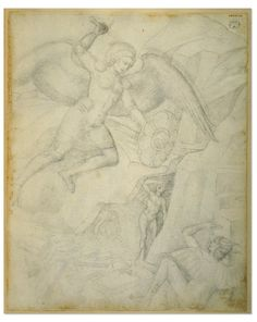 Jacopo Bellini, c.1400-1471, Italian, The Jacopo Bellini album: St Michael Archangel attacking a demon at the mouth of Hell, 1440-1470. Leadpoint, 41.5 x 33.5 cm. British Museum, London. Early Renaissance.