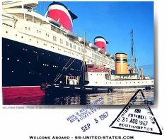 Welcome Onboard! Passenger Pass, Southampton 1967 - SS United States