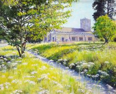 St. Marys churchyard oil painting by William H Jones, to be raffled off by the Friends of St Marys Church Kirkby Lonsdale.