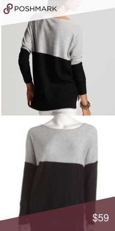 Vince Color Block Cotton Sweater Vince color block sweater in black and a neutral tan/gray/olive tone. Good condition, no flaws but shows minimal normal wear. Slightly oversized, relaxed fit with dropped sleeves.   100% cotton   Offers welcome, or bundle 2+ items and save! Vince Sweaters Crew & Scoop Necks