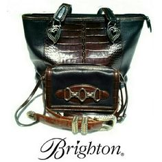 "BRIGHTON CROSS BODY/CLUTCH + BELT BRIGHTON CROSSBODY/CLUTCH Plenty OF ROOM! (I ""JUST"" sold the Shoulder Bag!) * Black Leather Body W/Brown Crock Trim * Three Silver Color Accent Rings in Front * Snap Front Contains 2 Envelope Compartments * 45"" Leather Straps W/Extension W/Buckle * Zippered Back Compartment for Change, Currency & Credit Cards * Additional Zipper on Outside of Back Compartment  Very Clean, again, never used. Size Large Brighton Belt included. Gently used. No Nicks Brighton…"