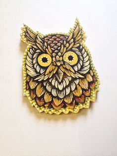 Owl Woodcut Painting Cut Out OOAK