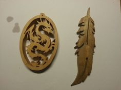 Scroll saw dragon and feather
