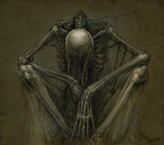 """Thinking 2""  © Skirill Dark Fantasy Art, Dark Art, Creepy Drawings, Creepy Art, Art Drawings, Skeleton Drawings, Art Macabre, La Danse Macabre, Arte Horror"