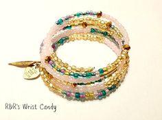 Dainty Beaded Coil Bracelet by RandRsWristCandy on Etsy, $10.00