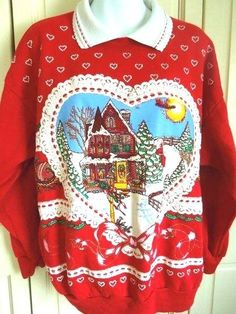 Vintage Ugly Christmas Sweater Party Sweatshirt Puffy Paint  Heart Large Jumper #Nutcracker #TurtleneckMock