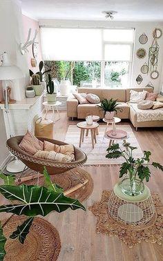 Interior Home Design Trends For 2020 - New ideas Boho Living Room, Bohemian Living, Cozy Living, Living Rooms, Cream Living Room Decor, Living Room With Plants, Earthy Living Room, Living Room Inspiration, Interior Inspiration