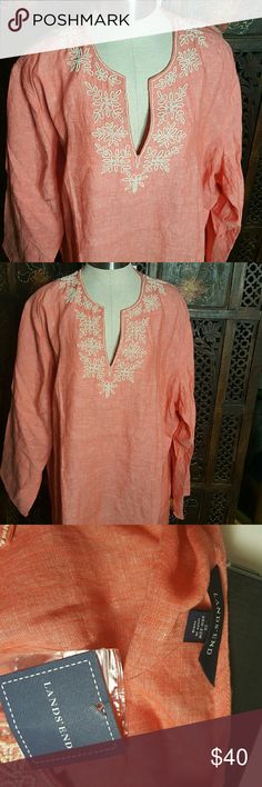 2X Beaded, Lands end Tunic New with Tags Beautiful, New, Beaded Tunic Lands' End Tops Tunics
