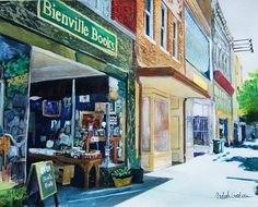 Ardith Goodwin - Bienville Books, Mobile AL * What could be better than a painting of a bookshop?