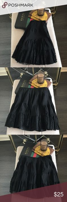 """Intimately Free People Black Lace Skirt Intimately Free People Black Lace Skirt. No trades or modeling. Elastic waist. Closeup photo shows texture and layers. Style causal or for girls night out! Worn just a few times. Lined. Waist approx. 13"""" flat across. K. Free People Skirts"""