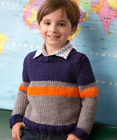 Show a young boy your love with a sweater knit just for him! Accent stripes add sporty style perfect for active guys. Mom will love that the yarn is easy care.