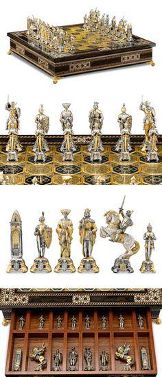 Medieval Chess Set by Piero Benzoni ~  inlaid 24k gold, mahogany, and striped ebony, held aloft by gilt feet at each corner ~ M.S. Rau Antiques