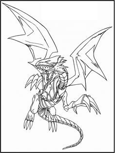 Yu-Gi-Oh Blue Eyes White Dragon coloring picture for kids