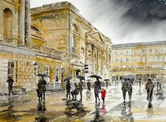 "Saatchi Online Artist: Alan Reed; Watercolor, 2011, Painting ""Pump Room in the Snow, Bath"""