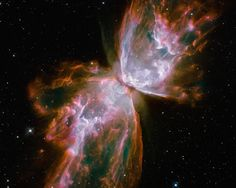 From : NASA Images from the Hubble Space Telescope - This is a planetary nebula; more correctly known as a stellar - remnant nebula. It is more popularly known as The Bug Nebula or The Butterfly Nebula. It spans two light years. About half the distance Telescope Images, Hubble Space Telescope, Space And Astronomy, Nasa Space, Galaxy Space, Cosmos, Planetary Nebula, Helix Nebula, Orion Nebula