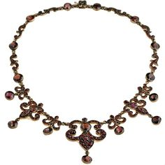 Bohemian garnet necklace, European, c. 1880.