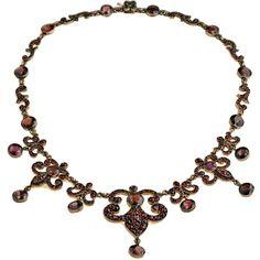 Bohemian garnet necklace, European, c. 1880.