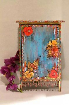 Painted Furniture Idea Boho Wooden Standing Cabinet Mexican Cottage By Oliviabydesign Boho Style Furniture Boho Style Painted Furniture Boho Chic Furniture Diy - WPlace Design Art Furniture, Funky Painted Furniture, Colorful Furniture, Handmade Furniture, Furniture Makeover, Furniture Design, Automotive Furniture, Automotive Decor, Furniture Stores