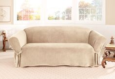 Gentil Sure Fit Slipcovers Soft Touch Velvet One Piece Slipcovers   Sofa