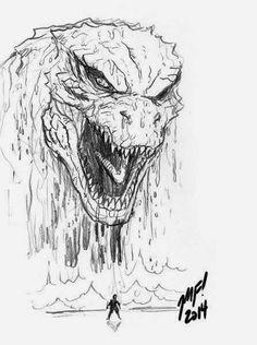 Godzilla 2014 art by Matt Frank Just the mouth teeth line frame w figure