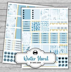 Blue Floral Planner Stickers  GOLD Erin Condren by PaperCharmShop