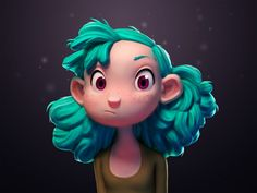 Turquoise Haired Girl by Julien Kaspar  Interesting style to explore