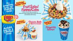 MAY FEATURE MENU! Three great new options to pick from ❤️ Come in a try our Fruit Salad Funnel Cake, Deep-Fried Cheese Balls with Bacon Gelato and Fireworks (Pop Rocks) and Oreo Twister! Fried Cheese, Cheese Fries, Fresh Fruit Salad, Cheese Ball, Cake Toppings, Pop Rocks, Gelato, Fireworks, Oreo