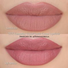 "Liquid Suede Cream Lipstick by @permiasorella in the shade ""Sandstorm"" and ""Soft-Spoken""."