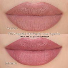 "Liquid Suede Cream Lipstick by @permiasorella in the shade ""Sandstorm"" and ""Soft-Spoken""."