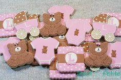 Baby shower cookies in pink and burlap.  baby girl, baby shower, onsie, baby cookies, teddy bear cookies, basketweave, decorated cookies, sugar cookies, cookie cutters