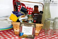 Guy present for the Guy in your life who loves to BBQ- Gift Basket - with printable Tag
