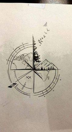 Best Travel Drawing Compass Tattoo Designs Ideas Tattoos And Body Art tattoo design ideas Natur Tattoos, Kunst Tattoos, Tattoo Drawings, Tattoo Sketches, Trendy Tattoos, Cute Tattoos, Small Tattoos, Sexy Tattoos, Awesome Tattoos