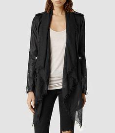 All Saints Womens Arnel Leather Biker Jacket (Black) End Of Season Sale, Sweater Outfits, Latest Fashion, Biker, Duster Coat, Jackets For Women, My Style, Tees, Latest Styles