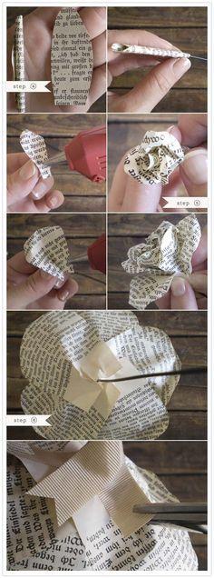 Papierrosen aus Büchern <3