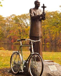 Before it finds itself on the hectic streets of Boston, Graham's bike gets some peace and quiet next to Sri Chinmoy in Roger Williams Park.