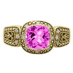 Cushion-Cut Pink Sapphire Yellow Gold Diamond Filigree Vintage Style Ring Available Exclusively at Gemologica.com