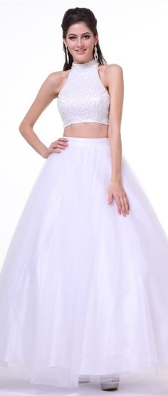 Halter Embellished Top Two Piece White Ball Gown #discountdressshop #twopiece…