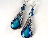 Blue Sapphire Crystal Earrings Posts Studs Long Bermuda Blue Earrings Antiqued Silver Filigree Teardrop Bridal, Wedding Earrings. $38.00, via Etsy.