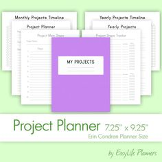 PROJECT & GOALS Planner (7.25 x 9.25 Inches) PDF for Erin Life Printable Filofax Perpetual Goals Tracker Inserts Refills. Instant Download. by EasyLifePlanners on Etsy