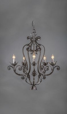 Monaco Wrought Iron Chandelier - 5 Light