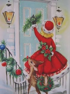 Christmas company Source by FoolForMyDog Vintage Christmas Images, Old Christmas, Old Fashioned Christmas, Retro Christmas, Vintage Holiday, Christmas Pictures, Christmas Greetings, Christmas Crafts, Christmas Printables
