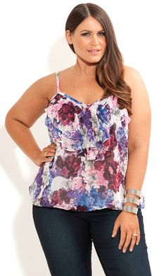 City Chic - FLORAL LAYER STRAPPY TOP - Women's plus size fashion